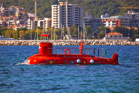 Touristic submarine  in Budva Montenegro - travel background