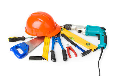 Different construction tools isolated on white background