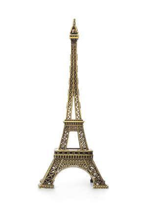 Paris Eiffel tower souvenir isolated on white background