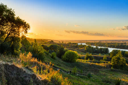 Sunset on the Oka river in the village of Konstantinovo - Russia