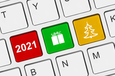 Computer keyboard with New Year keys - holiday concept