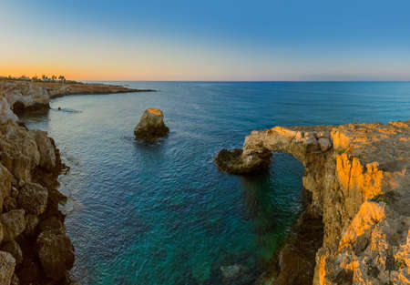 Lovers bridge at sunrise in Ayia Napa Cyprus - nature background