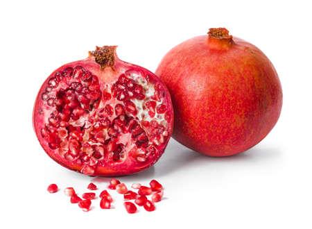 Big ripe pomegranate isolated on white background