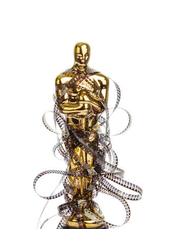 Award of Oscar ceremony and cinema film isolated on white background Stock Photo