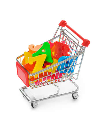 Letters in shopping cart isolated on white background Фото со стока