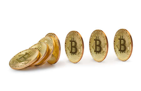 Falling bitcoins isolated on white background