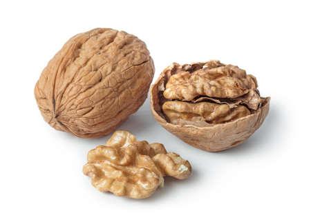 Ripe walnuts isolated on white background