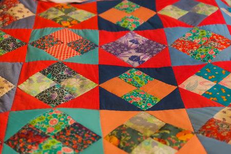 Handmade patchwork quilt design - abstract pattern background