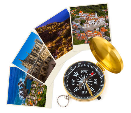 Portugal travel images (own photos) and compass - architecture and nature concept 版權商用圖片