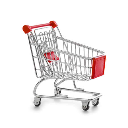 Toy shopping cart isolated on white background Banque d'images