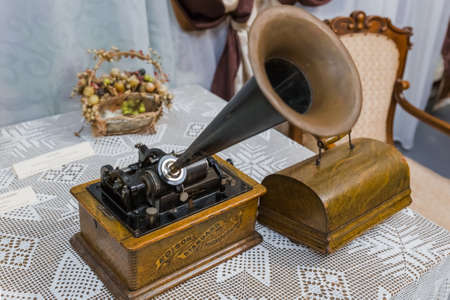 Gorodets, Russia - September 19, 2020: Vintage Edison phonograph in museum.