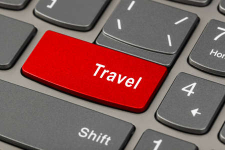 Computer keyboard with Travel key - technology background