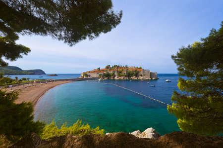 Island Sveti Stefan - Montenegro - architecture and nature background Zdjęcie Seryjne