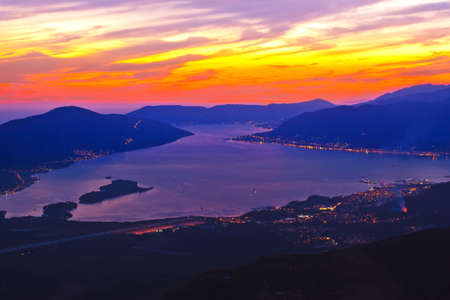 Kotor Bay on sunset - Montenegro - nature and architecture background Zdjęcie Seryjne