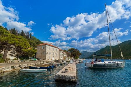 Village Perast on coast of Boka Kotor bay - Montenegro - nature and architecture background Zdjęcie Seryjne