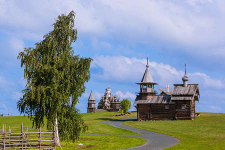 Famous wooden buildings on the island Kizhi Russia - architecture background