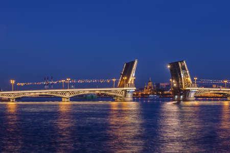 Neva river and open Blagoveshchensky Bridge - St. Petersburg Russia Zdjęcie Seryjne