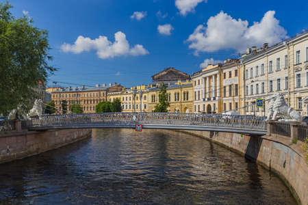 Lions bridge on Griboyedov channel - St. Petersburg Russia