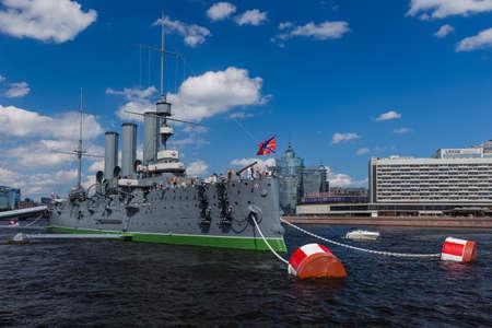 Saint-Petersburg, Russia - July 27, 2020: Aurora cruiser museum ship on Neva river. Publikacyjne