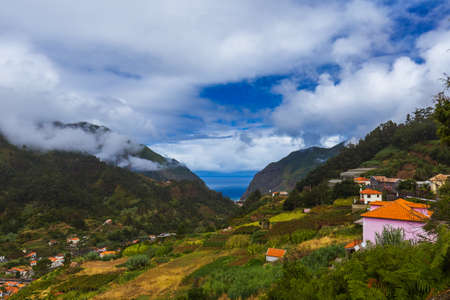 Mountains village in Madeira Portugal - travel background