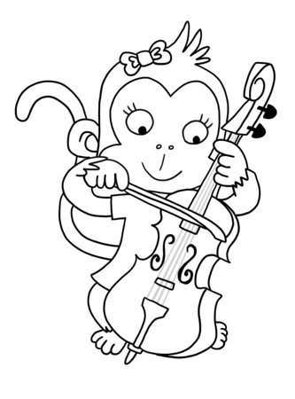 Cute Girl Monkey With Cello - Coloring Page Stock Photo, Picture And ...