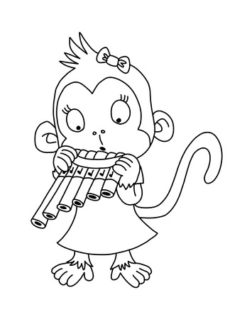 Cute monkey with pan flute -  coloring page