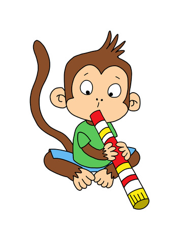 cute monkey: Cute monkey with didgeridoo Stock Photo