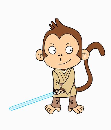 Cute Jedi monkey Stock Photo