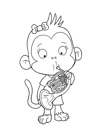 Cute monkey playing french horn - coloring page