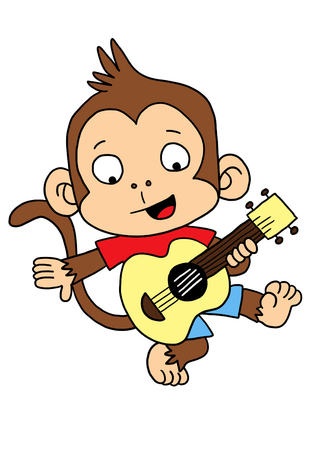 cute monkey: Cute Monkey playing Guitar Stock Photo