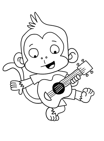 cute guitar monkey coloring page photo - Monkey Coloring