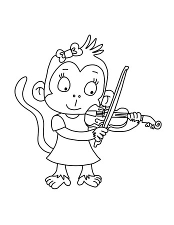 Cute monkey girl playing violin - coloring page