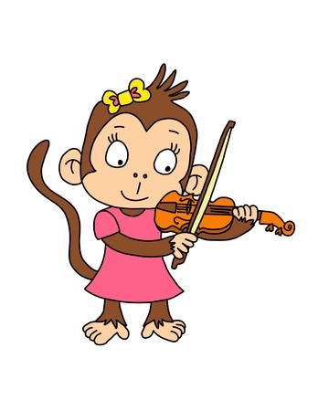 Scimmia Ragazza sveglia che gioca violino con il vestito rosa Archivio Fotografico - 69128130