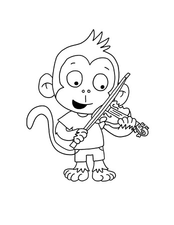 Cute Monkey Boy Playing Violin - Coloring Page