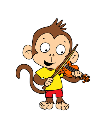 cute monkey: Cute Monkey boy playing violin Stock Photo