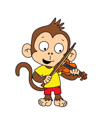 Cute Monkey boy playing violin Reklamní fotografie