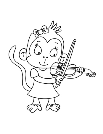 Cute Monkey playing violin - Coloring Page Archivio Fotografico - 69128129