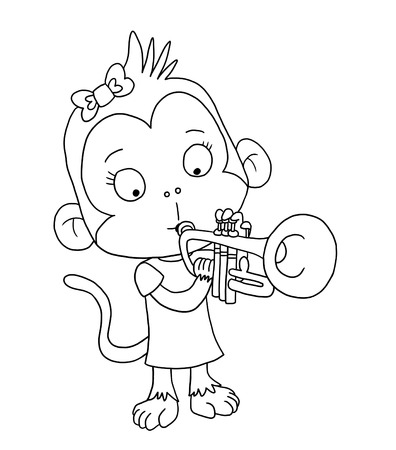 Cute monkey playing trumpet - coloring page Banco de Imagens