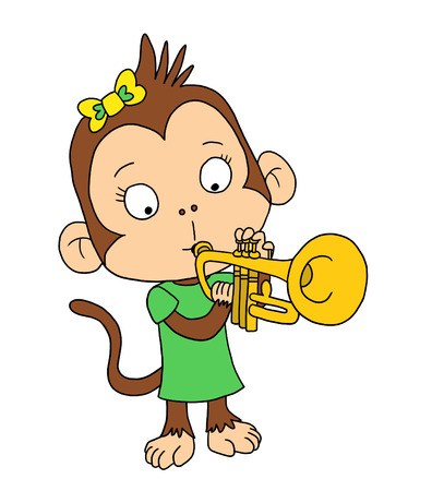 cute monkey: Cute monkey playing Trumpet Stock Photo