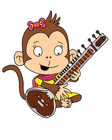 Cute Monkey playing Sitar