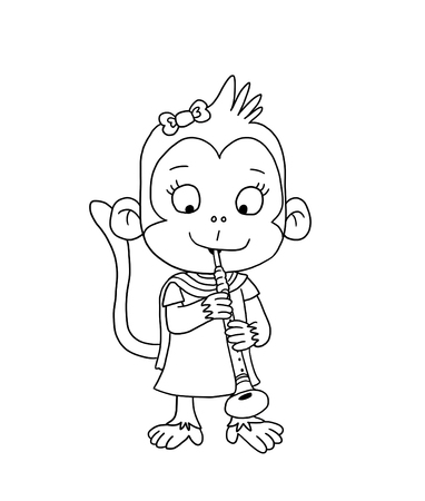 Cute Indian Girl Monkey Coloring Page Photo
