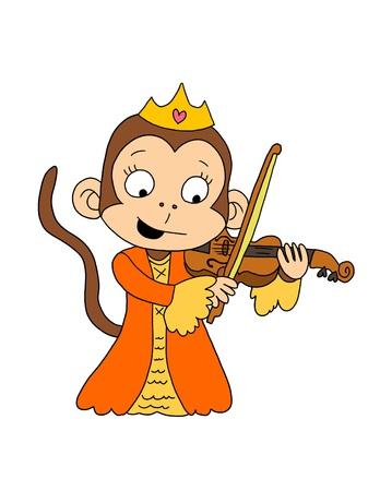 Cute princess monkey playing violin