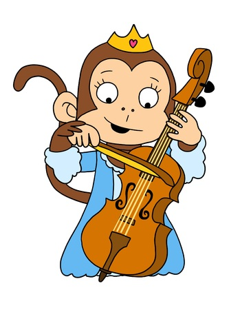 cute girl princess monkey playing cello
