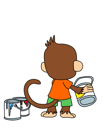 paint can: Cute monkey with paint can colored