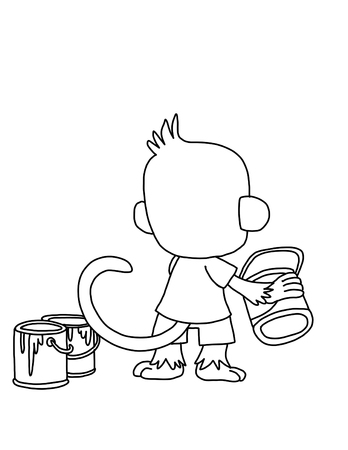 cute monkey: cute monkey with paint can Stock Photo