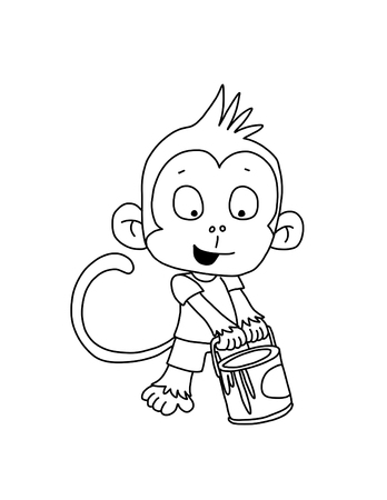 paint can: Monkey with Paint Can