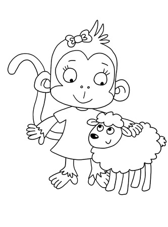 Cute Monkey With Bassoon - Coloring Page Stock Photo, Picture And ...