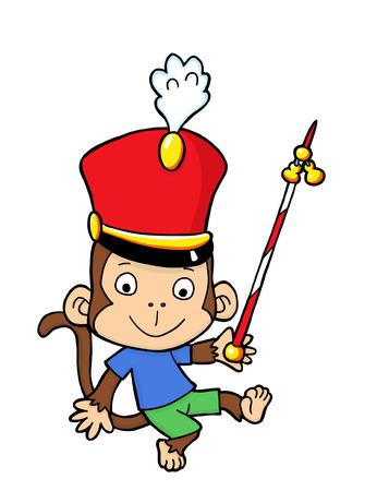 Cute marching bank monkey