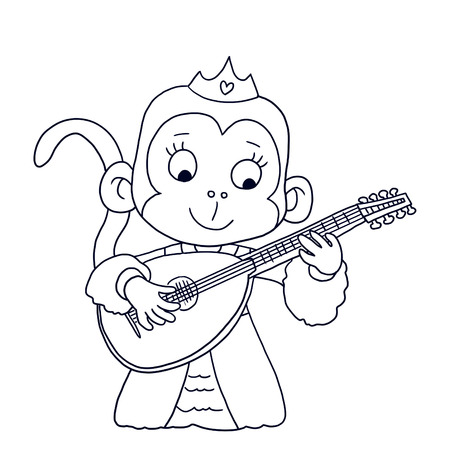 lute: cute princess monkey playing the lute - coloring page