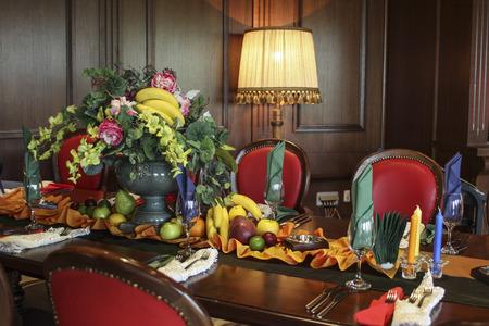 Classic interior decoration of a restaurant photo